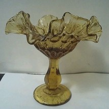Vintage FENTON Crystal Thumbprint Colonial Amber Crimped Compote Candy Dish - $7.43