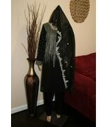 Pakistani Black Straight Shirt Chiffon Suit , Fancy Threadwork and Sequins - $158.38