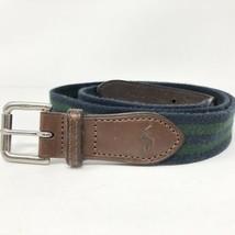 Polo Ralph Lauren Sz 38 VTG Woven Belt Leather Trim Navy Blue/Polo Green Stripe - $16.14