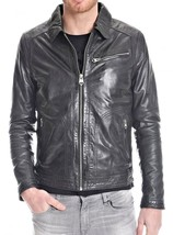New Men's Stylish Lambskin Genuine Leather Motorcycle Biker Slim Fit Jacket  GN6
