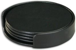 Dacasso Black Leather 4-Round Coaster Set - $51.17