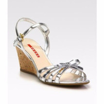 NEW PRADA Leather Bow Cork Wedge Sandals (Size 39) - MSRP $595.00! - $199.95