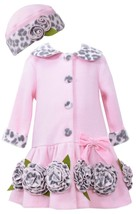 Bonnie Jean Little Girls 2T-4T Pink Bonaz Rosette Border Fleece Coat/Hat Set