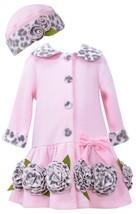 Bonnie Jean Little Girls 2T-4T Pink Bonaz Rosette Border Fleece Coat/Hat Set image 1