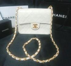 Auth CHANEL Shoulder Bag White Mini Matelasse Vintage Crossbody Flap Log... - $1,289.97