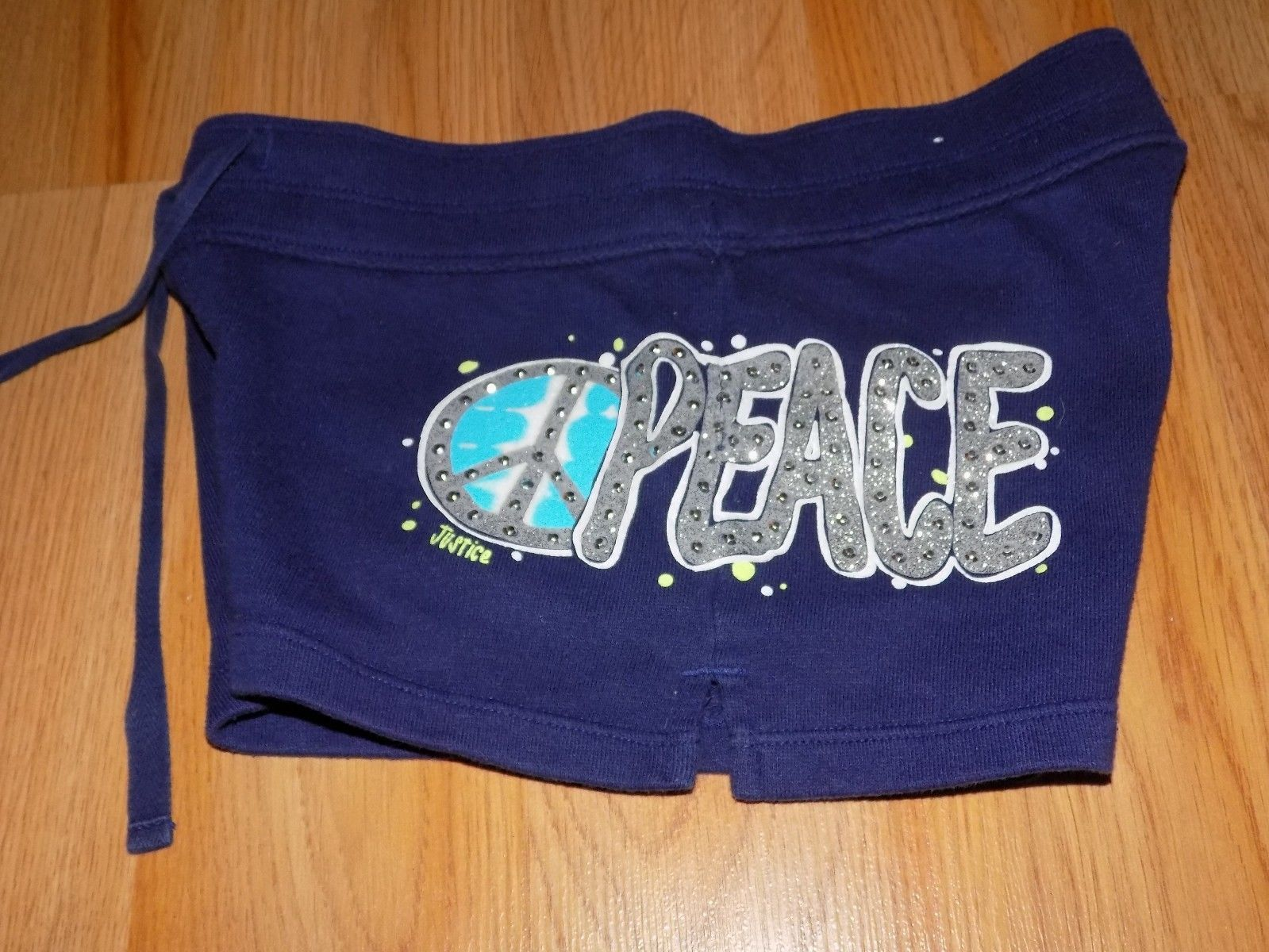 Primary image for Girl's Size 8 runs small Justice Shorts Gym Comfy Shorts PEACE Navy Blue GUC