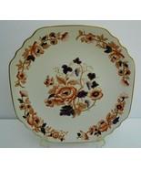 "WEDGWOOD Old Derby SQUARE CAKE PLATE 12"" England cobalt blue orange flowers - $46.27"