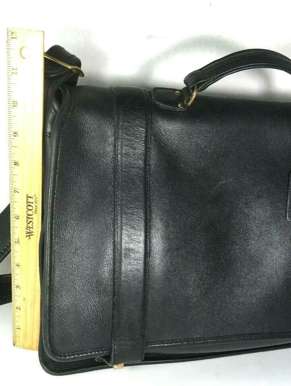 Coach Vintage Black Leather Briefcase Messenger Bag with Strap - Made In USA