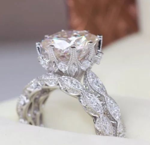 US ENGAGEMENT WEDDING RING SET 925 STERLING SILVER WHITE SAPPHIRE ORDER SZ 6-10