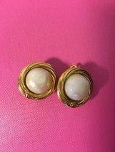 Authentic CHANEL Vintage Pearl Gold Logo Clip on Earrings Coco HCE018 - $132.76