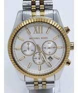 Michael Kors MK8344 Lexington Silver Gold-Tone Chrono Men's Watch NEEDS ... - $179.10