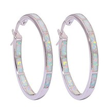 CiNily Blue White Opal Hoop Earrings,Women Jewelry Rhodium Plated (white) - $25.41