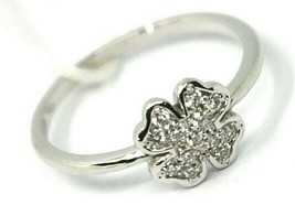 SOLID 18K WHITE GOLD RING, CENTRAL FOUR LEAF CLOWER 8mm WITH DIAMONDS image 1