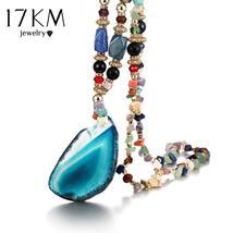 ob-17KM Retro Bohemia Multicolor Stone Water Drops Necklace For Woman Al... - $10.00