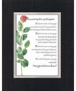 Touching and Heartfelt Poem for Daughters - Remembering You, My Daughter... - $15.79