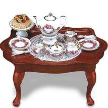 SALE Dollhouse Miniature Coffee Table w Setting 1.785/1 Reutter Roseband - $57.00