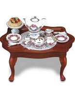 SALE Dollhouse Miniature Coffee Table w Setting 1.785/1 Reutter Roseband - $57.00