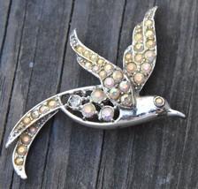 "Sarah Coventry Vintage Silver Bird Brooch Pin Aurora Borealis Rhinestone 2.5""L - $24.99"