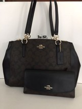 NWT Coach Signature Small Christie Carryall Satchel Brown / Black & WALL... - $259.95