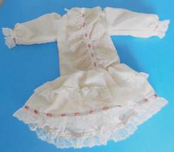 Off White Drop Waist Dress w/ Peach Ribbon for Medium Size Doll - $32.99