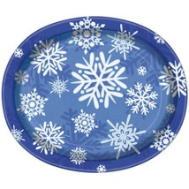 Winter Snowflake 8 Ct Christmas Oval Platters Banquet Plates Frozen Party - $4.49