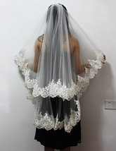 Two Layers Sequins Lace Edge Short Wedding Veil With Comb 2 Layers - $49.99