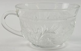 """Anchor Hocking Glass Sandwich Clear Flat Cup 2.375"""" Tall Floral Flower V... - $2.99"""