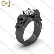 Dark Angle Wings Skull Engagement Ring Solitaire Moissanite Skull Ring F... - £256.06 GBP