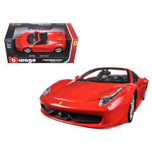 Ferrari 458 Spider Red 1/24 Diecast Model Car by Bburago 26017R - $36.99