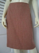Ann Taylor Loft Skirt 6 Virgin Wool Houndstooth Straight Lined Red Brown  - $59.37