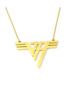 VH Charm Eddie Van Halen Logo Gold Plated Stainless Steel Pendant Necklace - $14.99