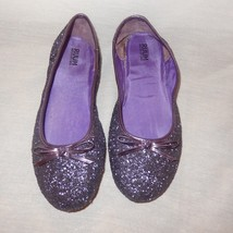 Ruum Purple Glitter Shoes Size 4 Medium Girls Slip On Ballet Flat - $12.99