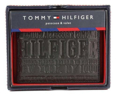 NEW TOMMY HILFIGER MEN'S LEATHER CREDIT CARD ID WALLET BILLFOLD BLACK 31TL22X034