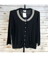 Women's Kate Spade Black Tula Embellished Sweater Cardigan sz XL - $144.09