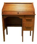 Vintage EASTMAN LINE American Mission Style Child's Roll Top Oak Desk  - $225.00