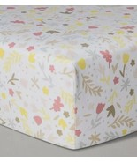 Cloud Island Homespun Floral Fitted Crib Sheet New Yellow Pink Baby Nursery - £11.11 GBP