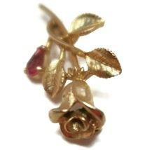 Vintage 70s Avon Rose Gold Plated Pink Faceted Stone Brooch Marked - $14.95