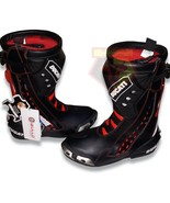 DUCATI BLACK WATERPROOF COWHIDE LEATHER MOTORCYCLE ARMORED RACE TRACK BOOTS - $229.99