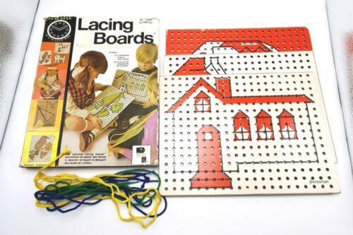 Pressman Vintage Masonite Lacing Board Set 3 Boards 5 laces Sewing Cards - $39.99
