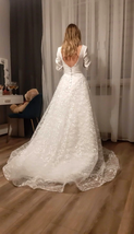 Booma Lace Long Sleeve V-neck Backless Satin Wedding Gown Plus Sizes image 6