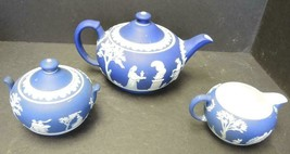 Vintage Cobalt Blue Dipped Jasperware Wedgwood Three Piece Tea Set - $94.99