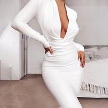 New white elegant sexy deep V neck long sleeve bodycon women midi party ... - $69.00
