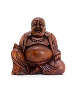 OMA Happy Buddha Laughing Buddha Wood Carved Statue For Luck and Prosper... - $33.83