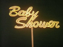 "6 Baby Shower Picks decoration sticks white with gold trim 5.5"" tall - $1.97"