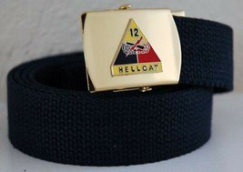 US Army 12th Armored Div Blue Military Belt & Buckle - $17.81