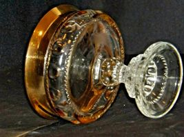 Clear King's Crown Compote with Thumb Print and gold Flash Design AA-191694 Vin image 4