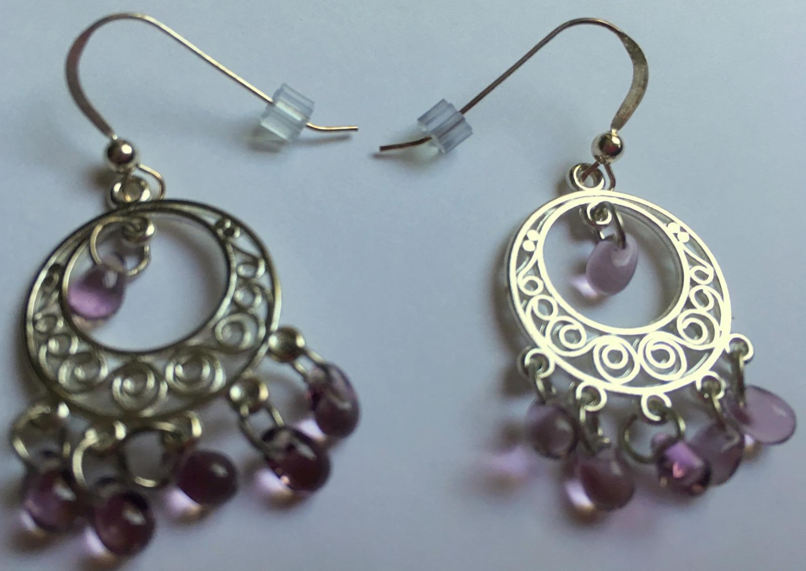 Lavender Chandelier Hook Earrings, Czech Glass Beads, Drop Earrings, Gift Idea