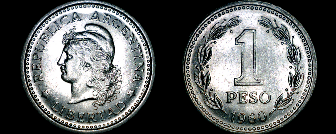 Primary image for 1960 Argentina 1 Peso World Coin