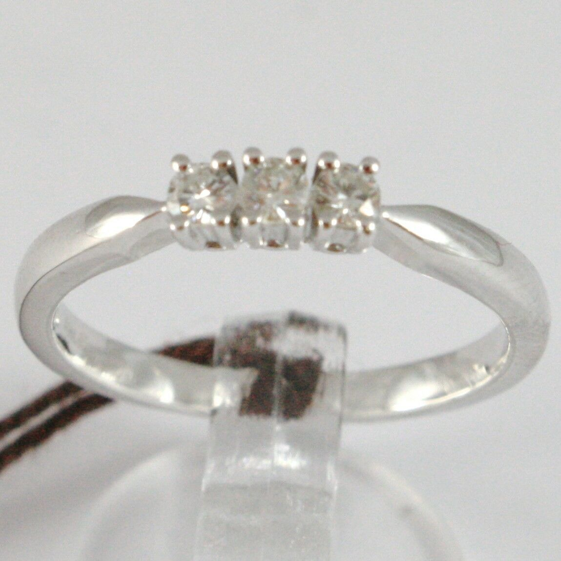 WHITE GOLD RING 750 18K, TRILOGY 3 DIAMONDS CARAT TOTAL 0.12, STEM SQUARE