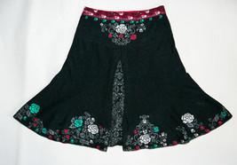 IVKO Skirt Floral Paisley Ornament Dark Gray Skirt 100 % Wool Size 38 / ... - $45.47